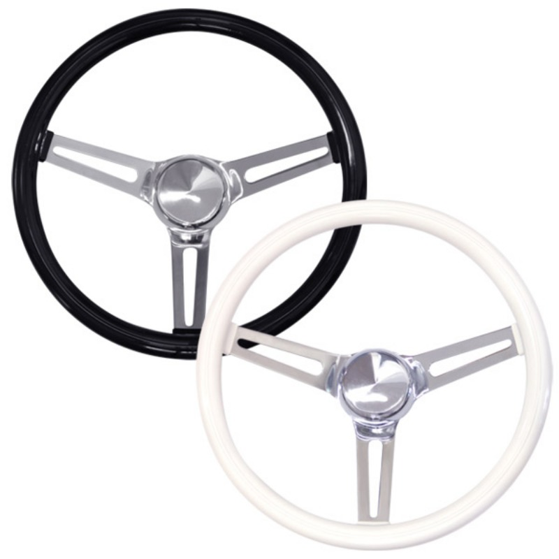 "Classic Style Vinyl Grip Steering Wheel 34cm (13.5"") SLOTTED HOLE SPOKES [GS260PW]"