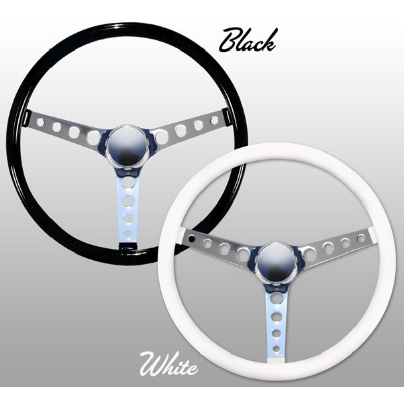 "Classic Style Vinyl Grip Steering Wheel 38cm (15"") 4 ROUND-HOLE SPOKES [GS280PW]"